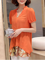 Spring Summer  Polyester  Women  V-Neck  Fake Two-Piece  Printed  Short Sleeve Blouses