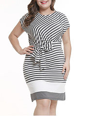 Round Neck  Lace-Up  Asymmetric Stripe Plus Size Bodycon Dress