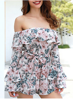Floral Off Shoulder Jumpsuits For Women