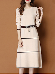 Autumn Long Sleeve Round Neck Midi Dress Shift Dress