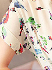 Summer  Polyester  Women  Round Neck  Printed  Extra Short Sleeve Blouses
