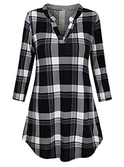 V Neck  Patchwork  Plaid  Long Sleeve  T-Shirt