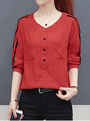Summer  Cotton  Women  Round Neck  Single Breasted  Plain  Half Sleeve Blouses