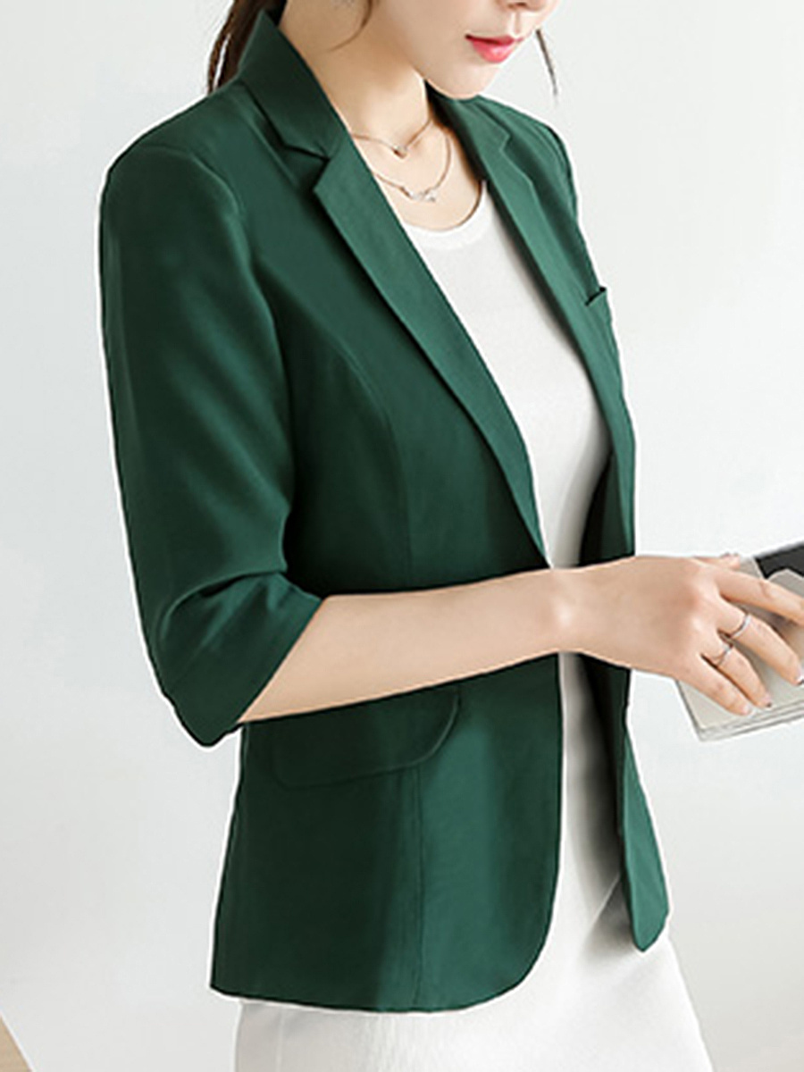 Solid Single Button Notch Lapel Blazer