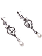 Elegant Rhinestone Faux Pearl Drop Earrings