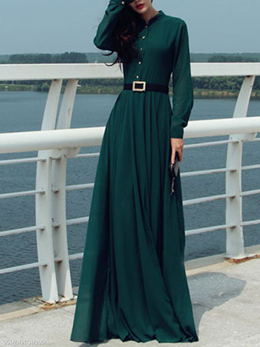 Band Collar Plain Pocket Chiffon Maxi Dress