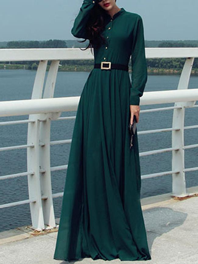 Image of Fashionmia Band Collar Plain Pocket Chiffon Maxi Dress