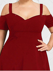 V-Neck  Peplum  Plain Plus Size Bodycon Dresses