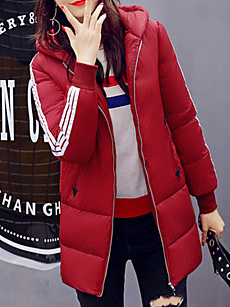 Hooded  Contrast Piping  Plain  Long Sleeve Coats