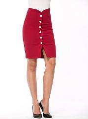 Decorative-Button-Plain-Pencil-Midi-Skirt