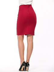 Decorative Button  Plain  Pencil Midi Skirt