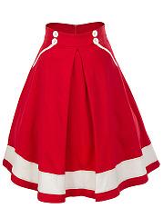 Color-Block-Flared-Midi-Skirt