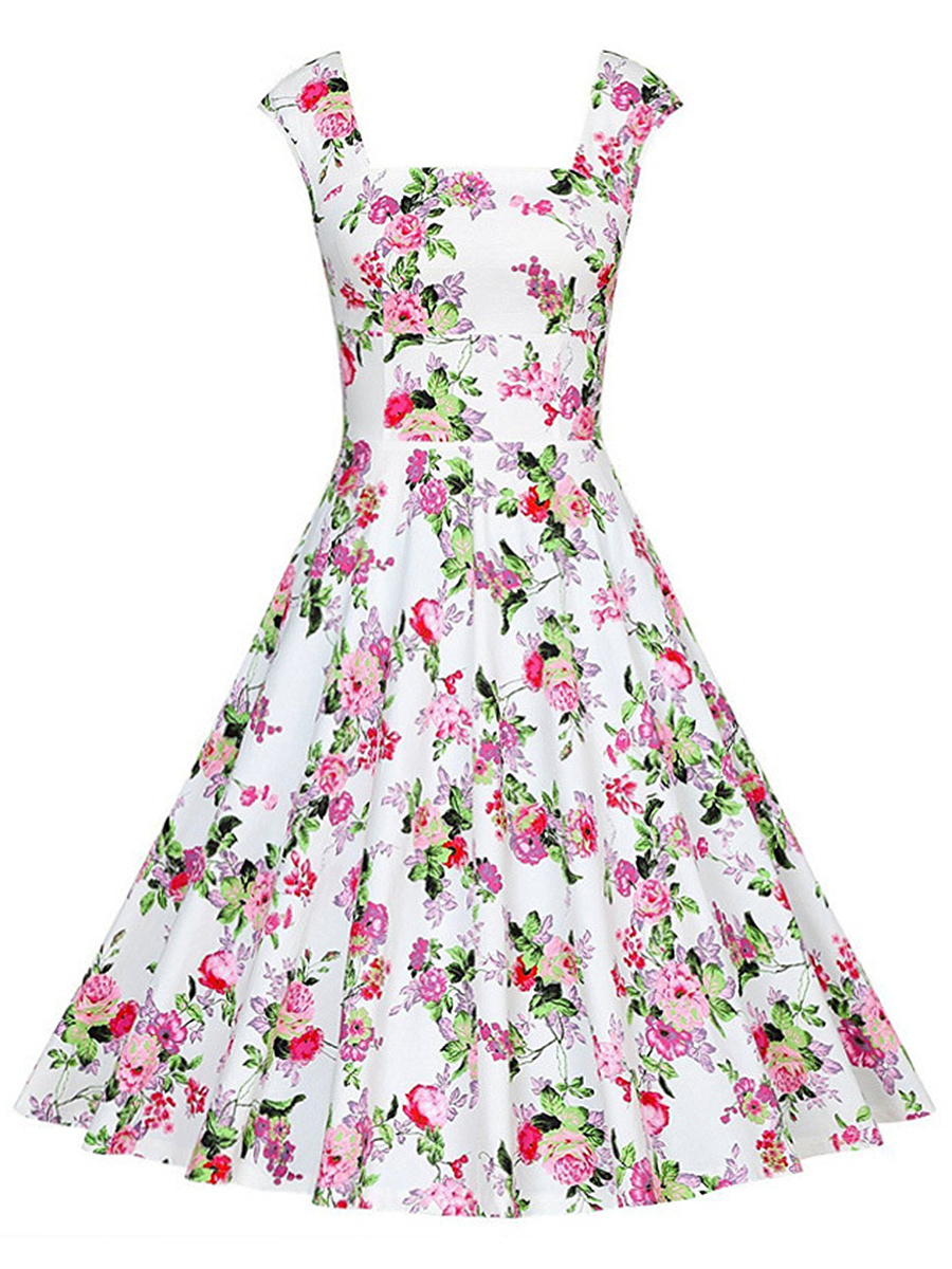 Charming Square Neck Tiny Floral Printed Skater Dress