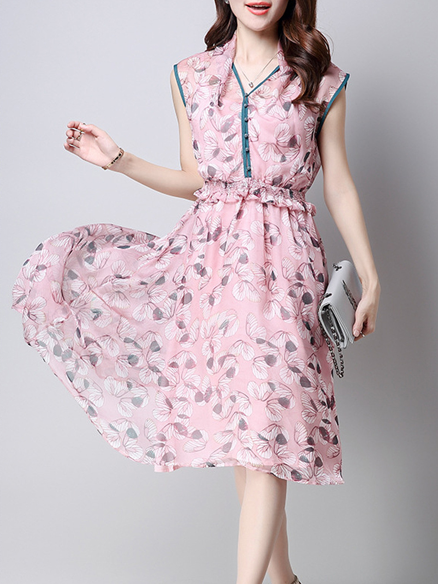 V-Neck Contrast Trim Printed Midi Two-Piece Skater Dress