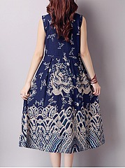 Band Collar  Tribal Printed Midi Skater Dress