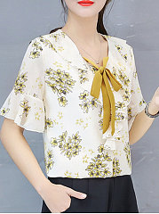 Spring Summer  Polyester  Women  Tie Collar  Floral Printed  Bell Sleeve  Short Sleeve Blouses