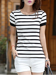 Summer  Cotton  Women  Round Neck  Striped Short Sleeve T-Shirts