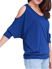 Autumn Spring  Cotton  Women  Open Shoulder  Plain  Batwing Sleeve  Three-Quarter Sleeve Long Sleeve T-Shirts