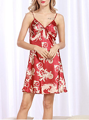Spaghetti Strap Abstract Print Satin Nightgown