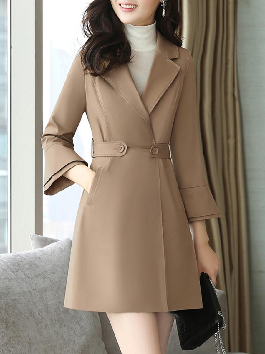 Lapel Plain Longline Pocket Bell Sleeve Coat