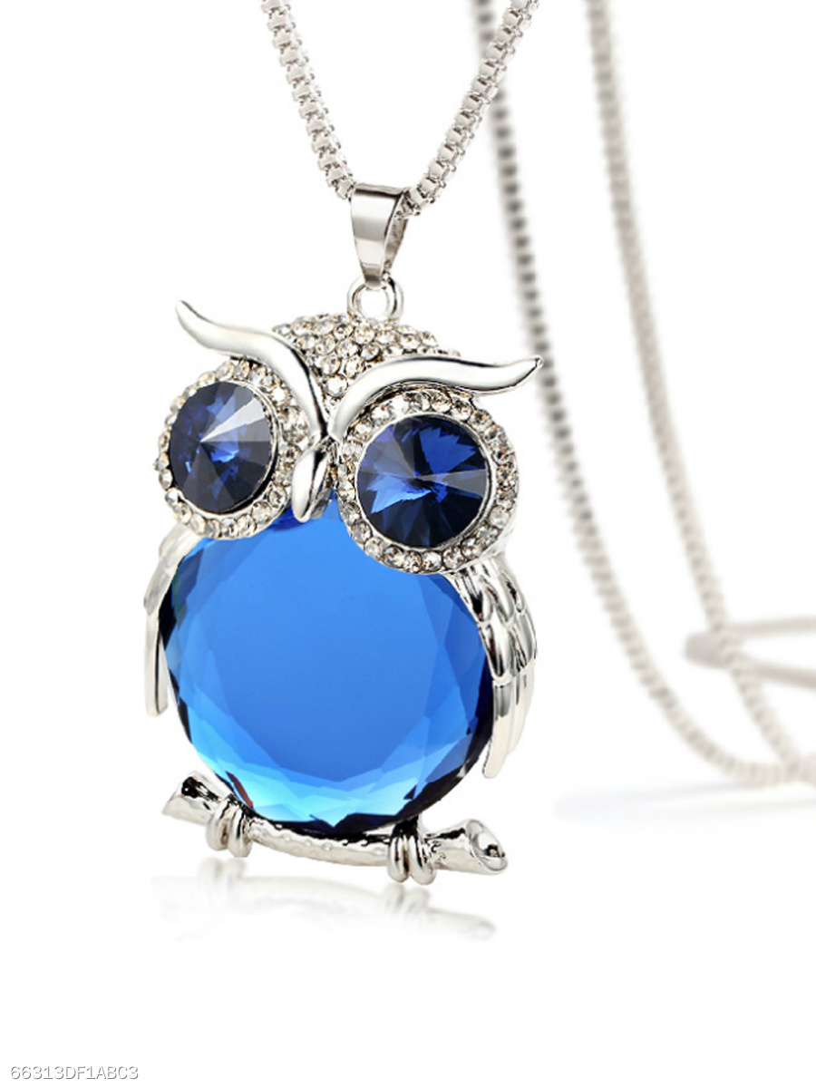 Blue Imitated Crystal Owl Shape Long Necklace