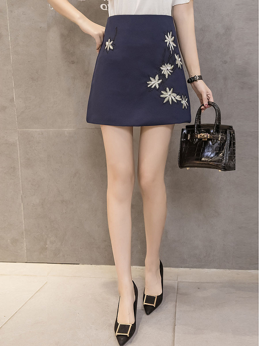 Floral Embroidery A-Line Mini Skirt