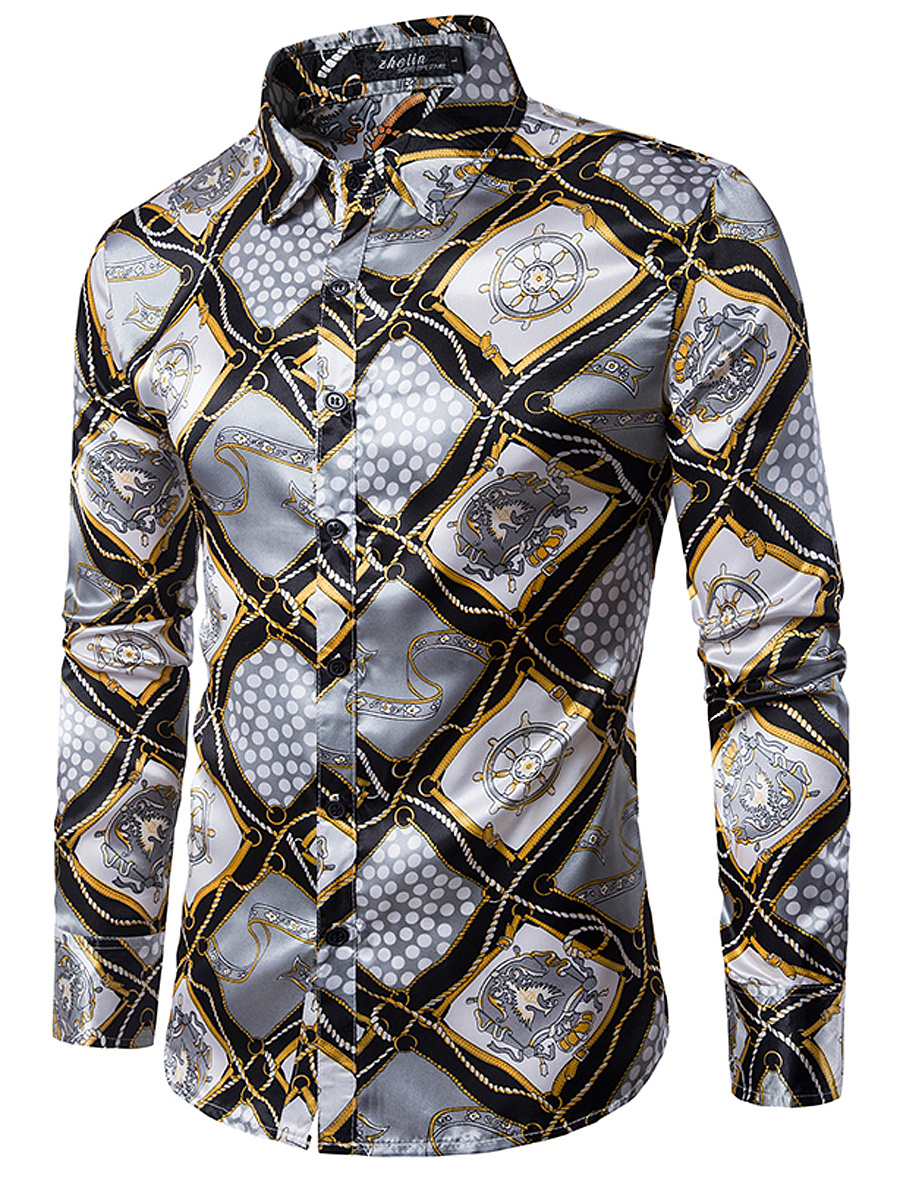 Stylish Printed Plaid Men Long Sleeve Shirts