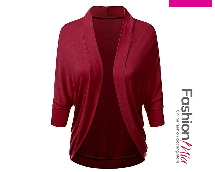 gender:women, hooded:no, thickness:regular, brand_name:fashionmia, style:elegant,fashion,japan & korear, material:blend, collar&neckline:collarless, sleeve_type:batwing sleeve, sleeve:three-quarter sleeve, embellishment:snap front, pattern_type:plain, occasion:basic,office, season:autumn,spring, package_included:top*1, sleeve lengthbust