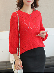 V-Neck  Geometric Plain  Puff Sleeve  Long Sleeve Sweaters Pullover