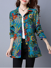 Printed  Raglan Sleeve  Long Sleeve Coats