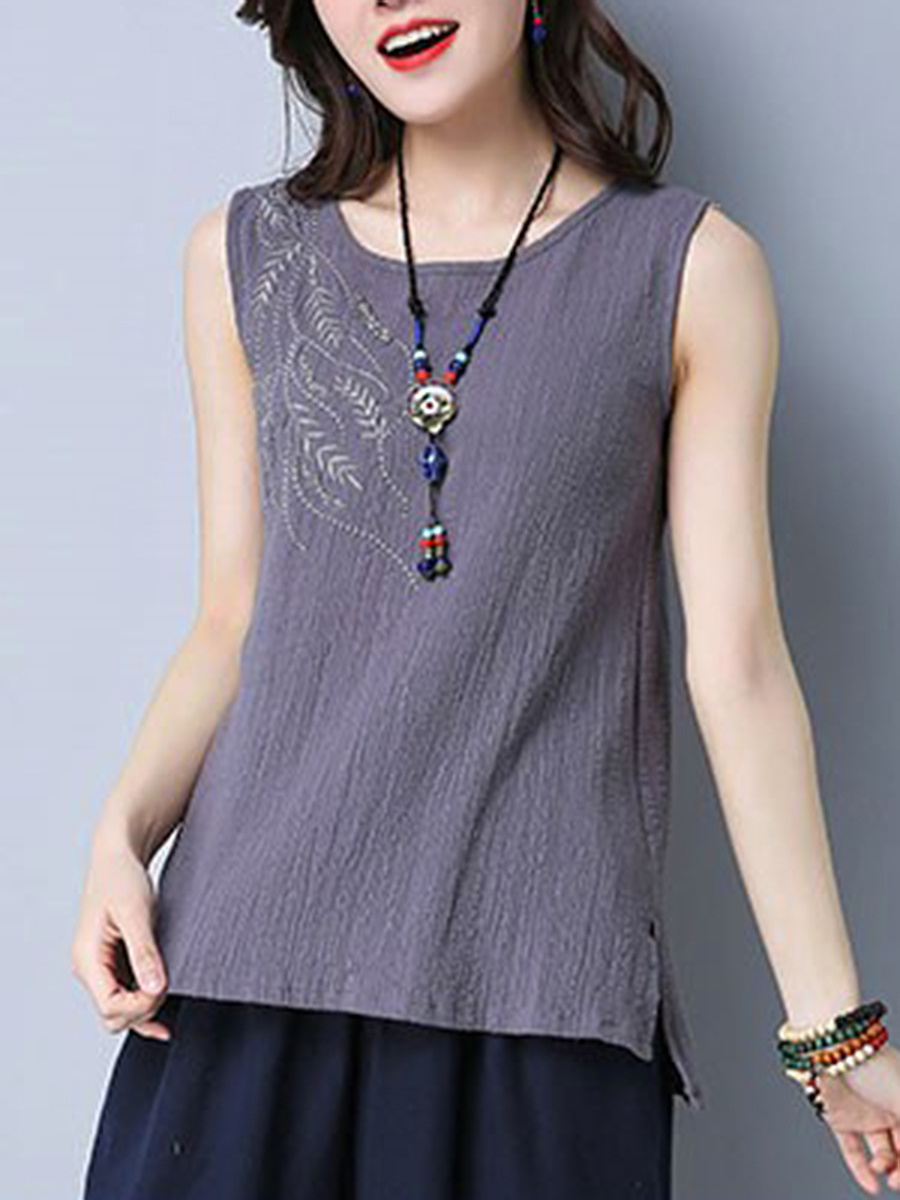 Embroidery Round Neck Side-Vented Sleeveless T-Shirt