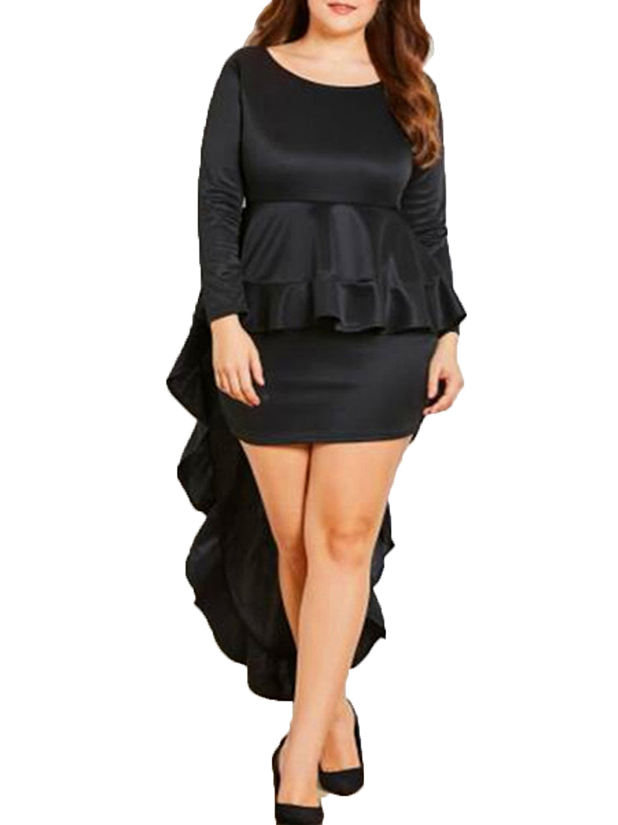 Crew Neck  Flounce  Plain Plus Size Bodycon Dresses