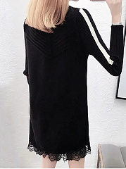 High Neck  Patchwork  Lace Plain Shift Dress