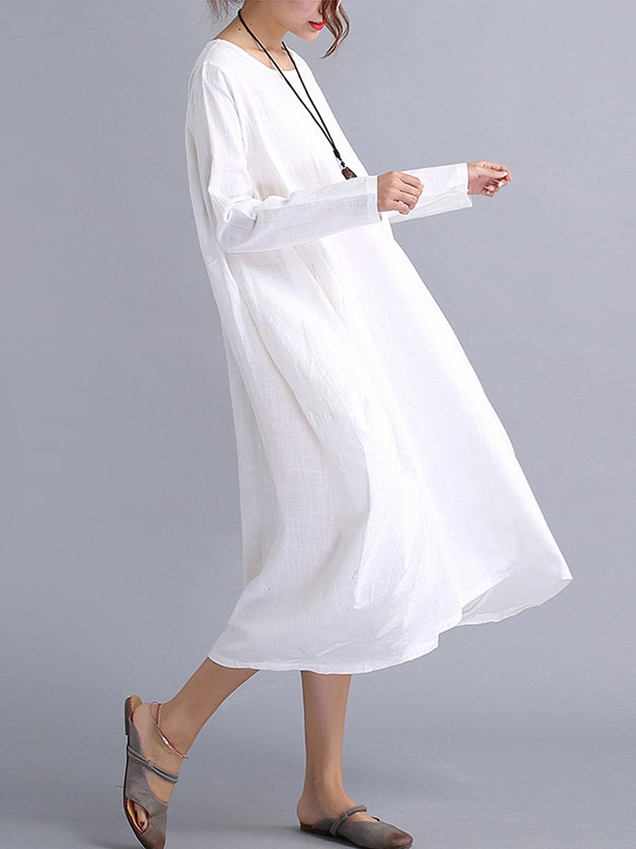 de8ae98efd7 Oversized Round Neck Pocket Plain Shift Plus Size Dress – NORACORA