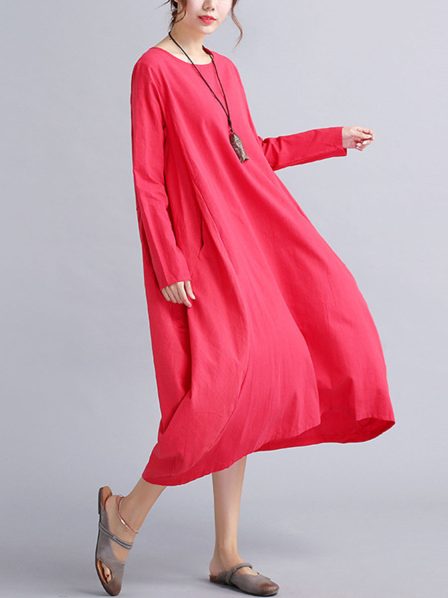 Oversized Round Neck Pocket  Plain Maxi Dress