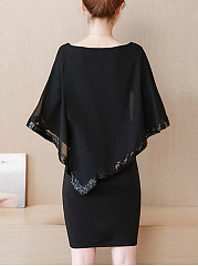 Boat Neck Plain Sequin Cape Sleeve Shift Dress