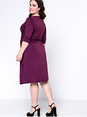 Graceful Sweet Heart  Plain Plus Size Flared Dress