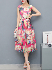 Round Neck  Floral  Chiffon Sleeveless Maxi Dress