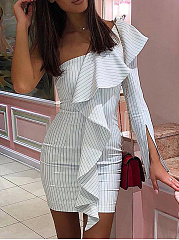 One Shoulder  Striped Bodycon Dress