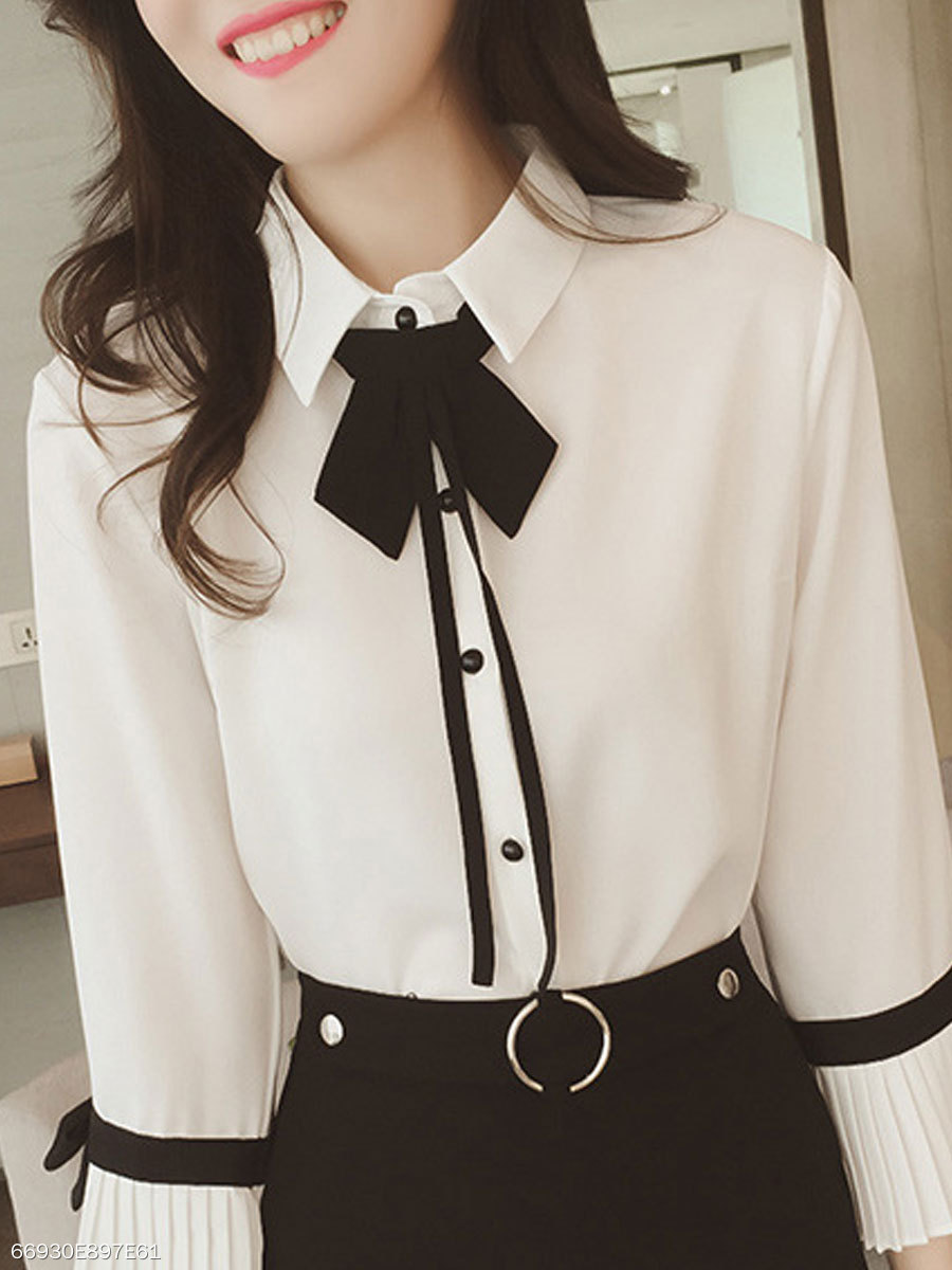 Spring Summer  Polyester  Women  Turn Down Collar  Bowknot  Plain  Bell Sleeve  Long Sleeve Blouses