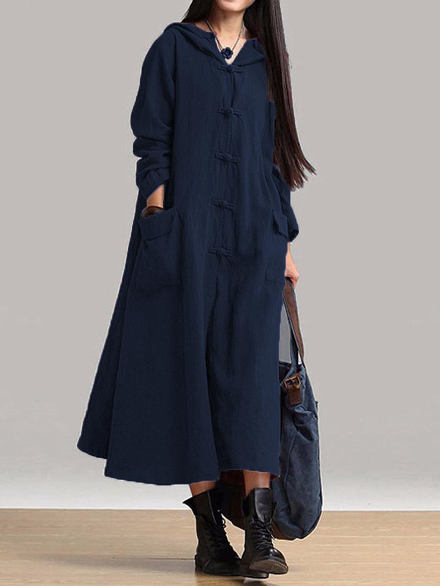 Women Vintage Frog Button Long Sleeve Hooded Long Maxi Dress