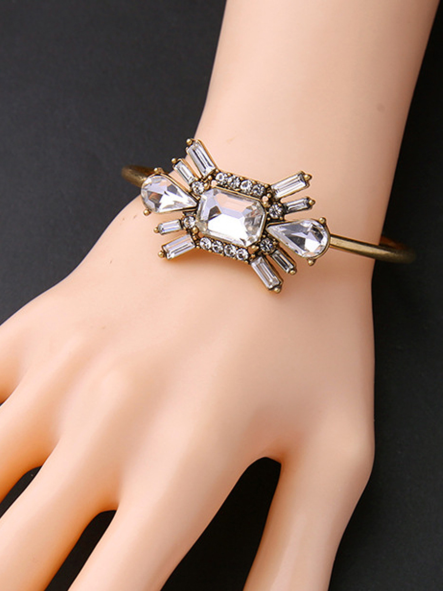 Squared Faux Crystal Adjustable Bracelet