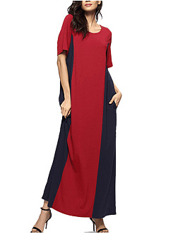 Round Neck Pocket Color Block Loose Maxi Dress