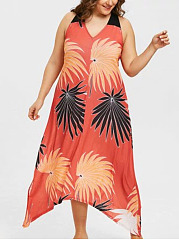 V-Neck  Asymmetric Hem  Floral Printed Plus Size Midi & Maxi Dress
