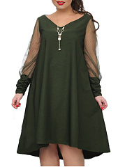 V-Neck  See-Through  Plain Plus Size Flared Dresses