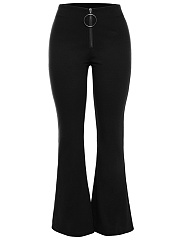 Solid-Zips-Flared-Casual-Pants