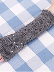 Bowknot Hollow Out Knitted Gloves