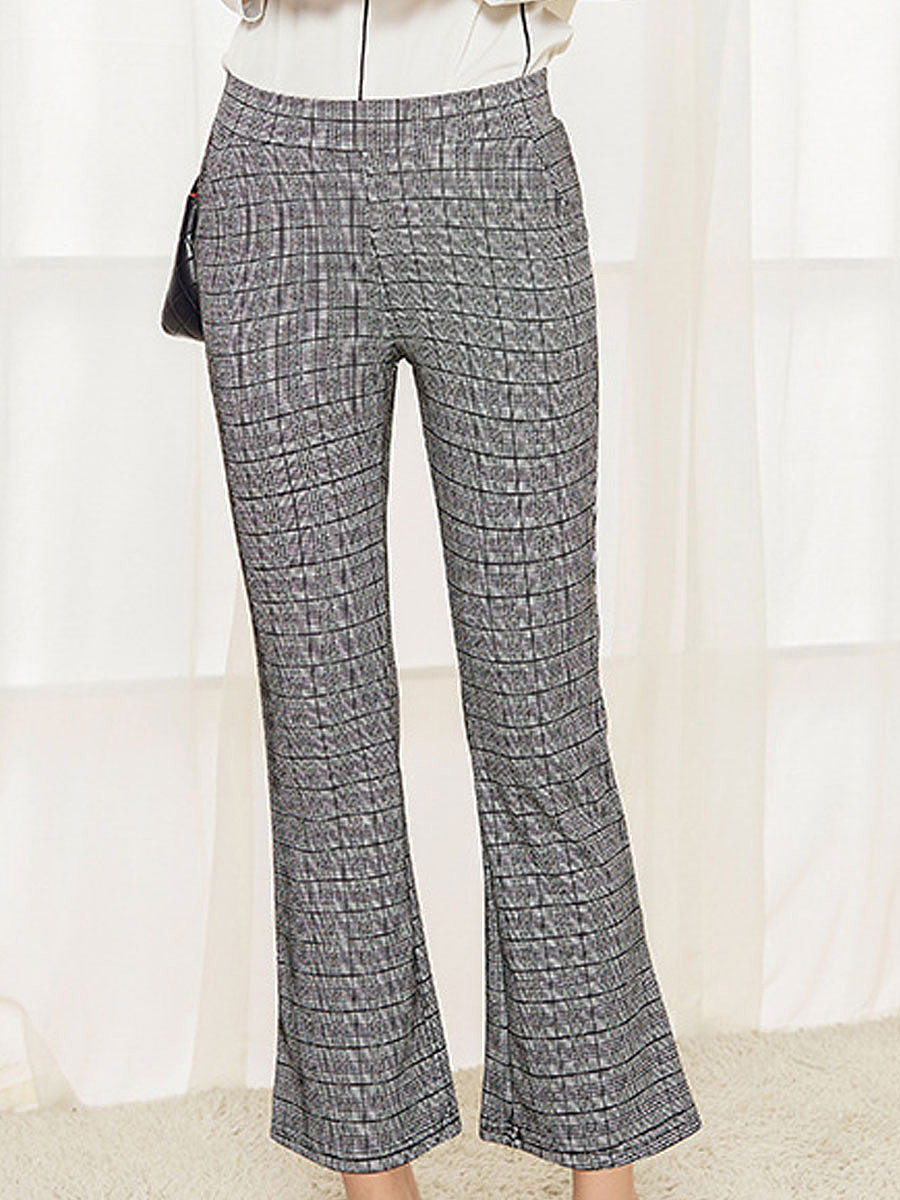 Lightweight  Plaid  Flared  Mid-Rise Casual Pants