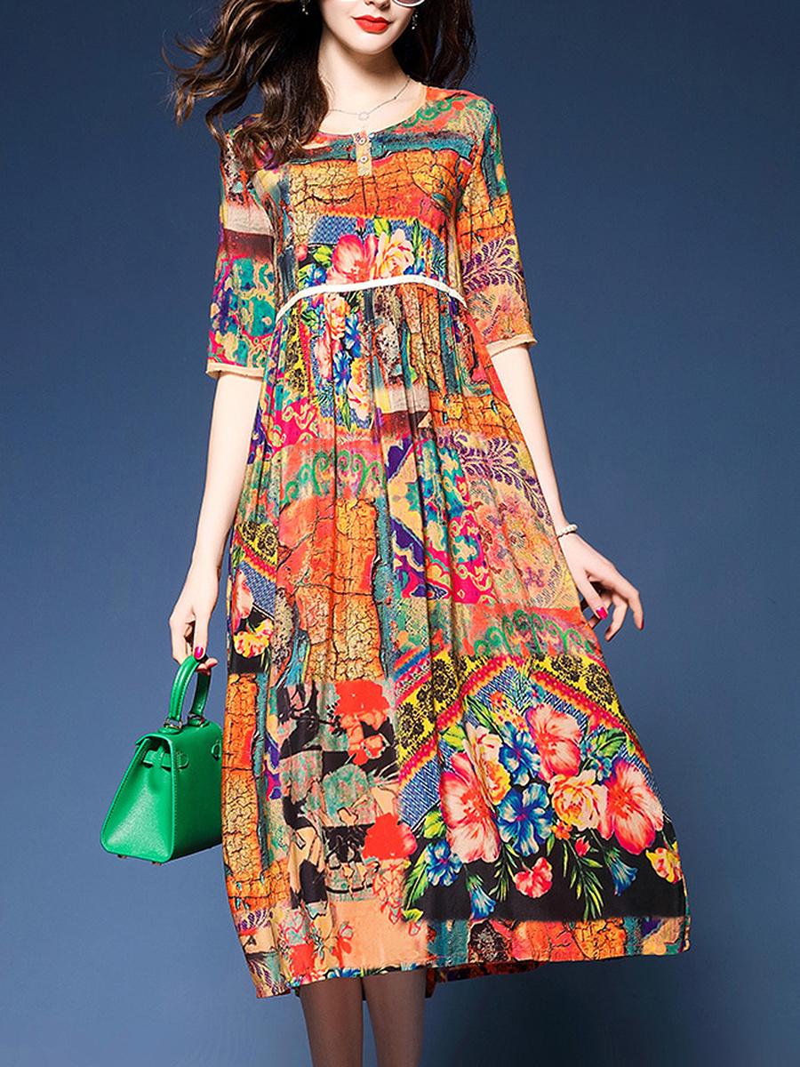 Colorful Printed Round Neck Empire Maxi Dress