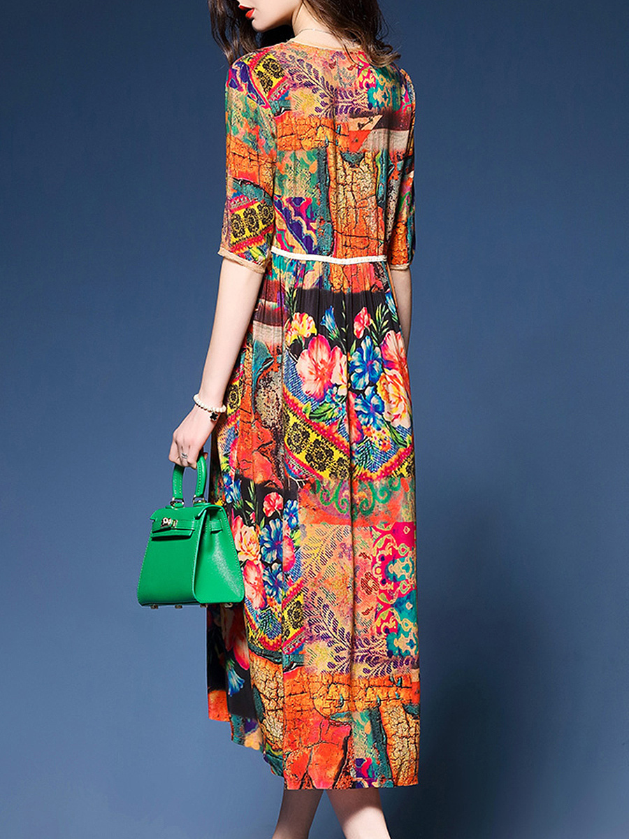 Colorful Printed Round Neck Empire Maxi Dress
